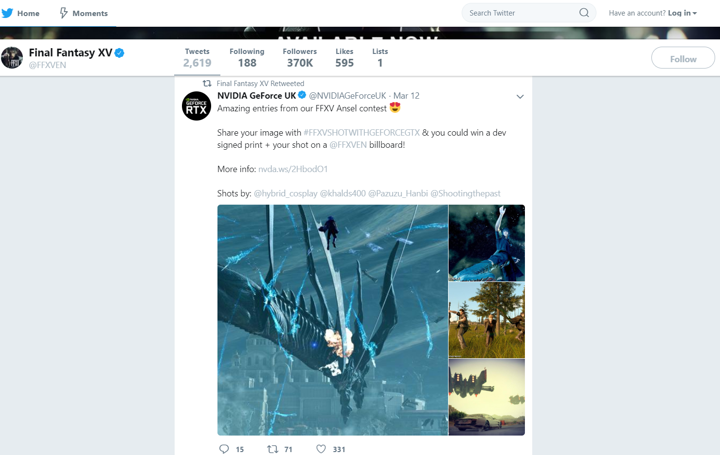 An official tweet regarding the FFXV Snapshot Contest