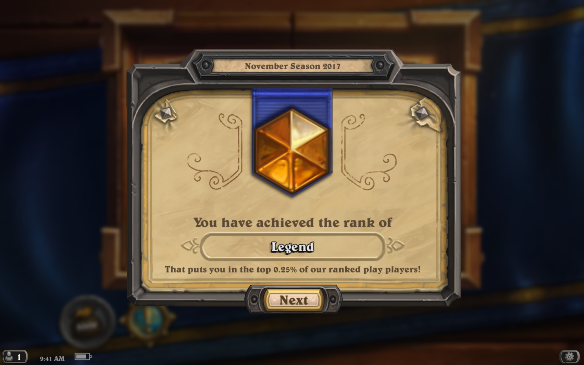 Hearthstone players are ranked every season (month). What it must feel like to be ranked in the top 0.25% of players in a season