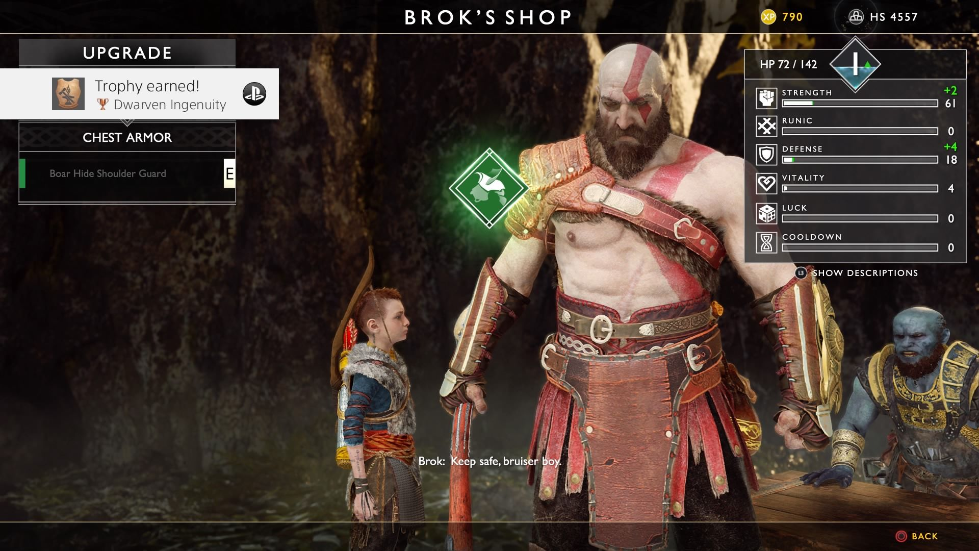 Kratos's stats in God of War (2018): HP/Strength/Runic/Defense/Vitality/Luck/Cooldown