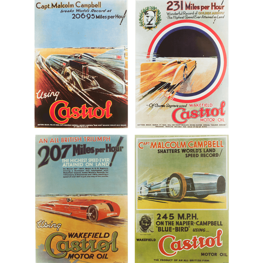 Castrol Landspeed Poster Set   A set of four A3 posters printed on high quality paper, depicting Castrol landspeed records from the 1930's and 40's.