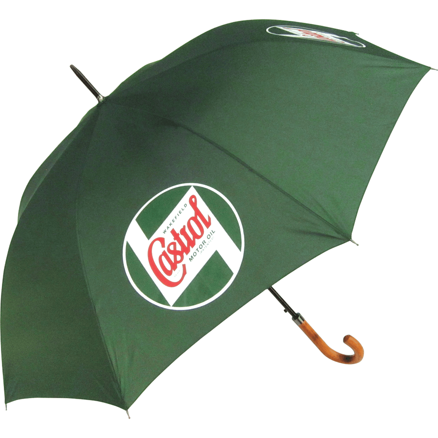 Classic Walking Umbrella   Classic umbrella with a wooden handle and the classic Castrol logo. 140cm diameter when opened.