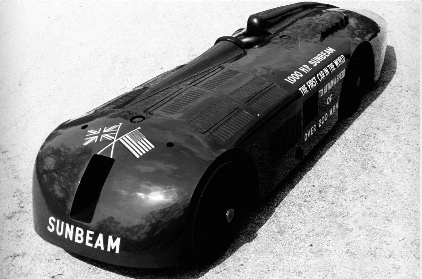 The Sunbeam, pictured in 1927 after breaking the 200mph barrier