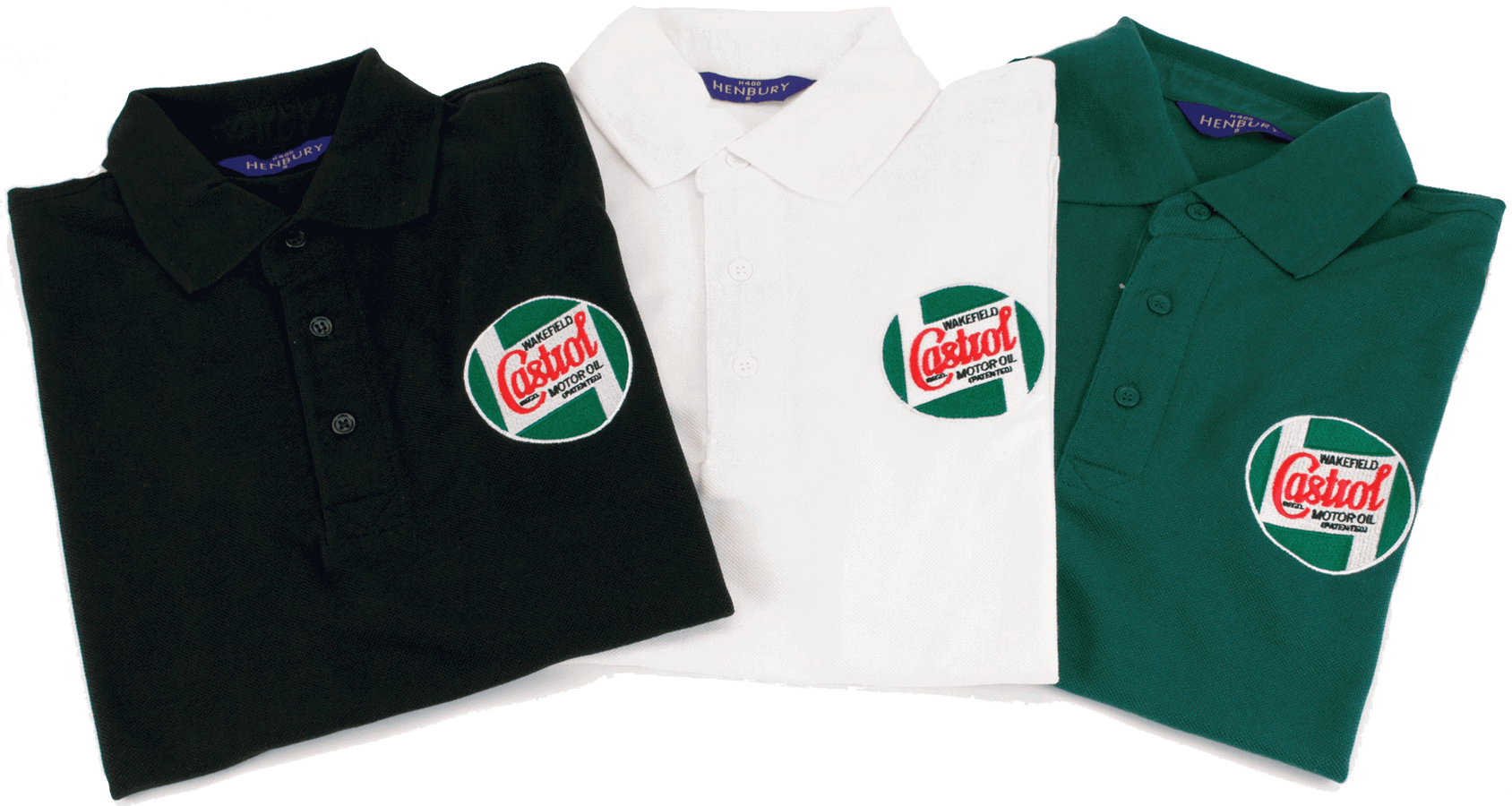 Classic Polo Shirts   Heavy pique poly/cotton polo shirts, with an embroidered logo on the chest and sleeve. Available in black, white, or green, small to extra large.