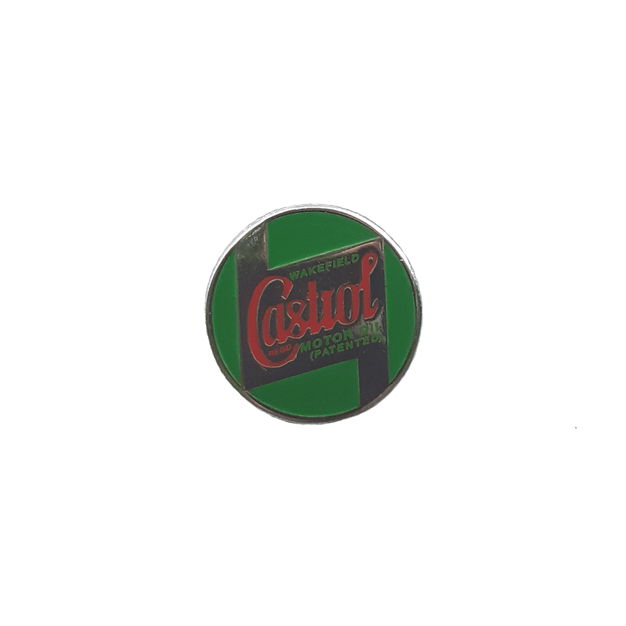 Lapel Pin Badge   Engraved and painted pin badge of the iconic 1946 Castrol logo. 17mm diameter.