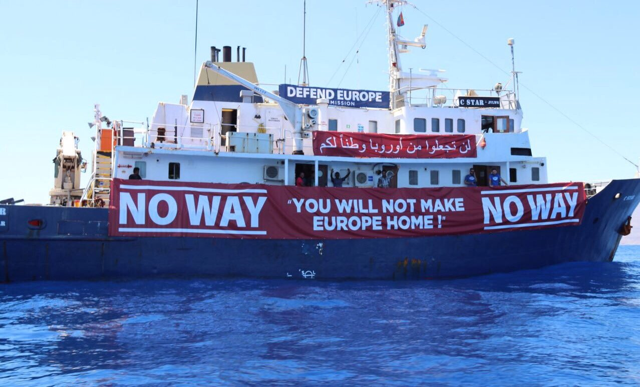 """… the European right-wing organisation Generation Identity co-opted Australia's 'No Way' border policy slogans and imagery in their violent, anti-immigration 'Defend Europe' missions.""  Image: Twitter."