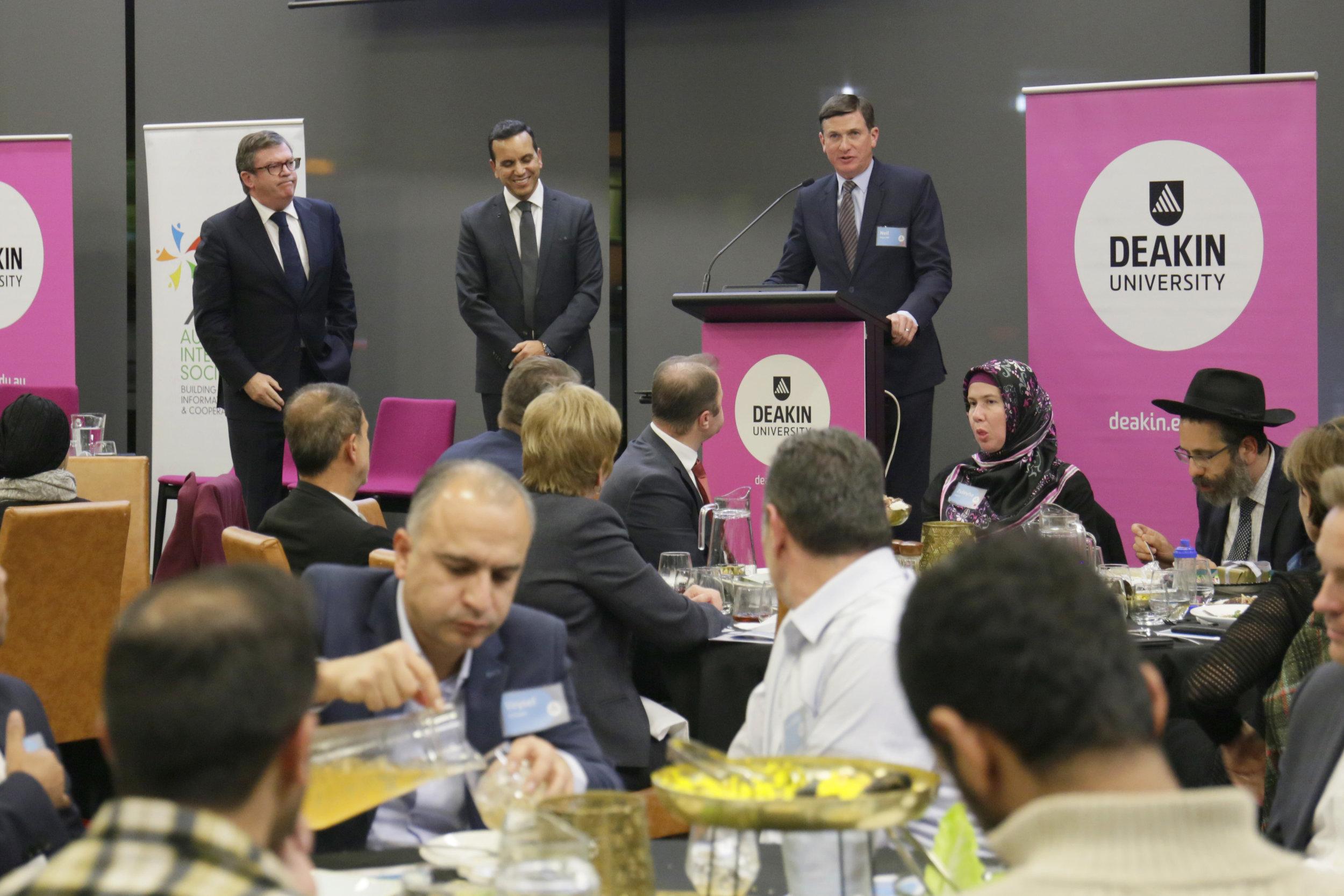 Mr Frank McGuire MP, Professor Fethi Mansouri and Mr Neil Angus MP.