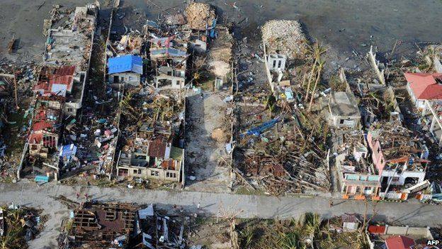 Typhoon Haiyan was one of the most powerful tropical cyclones ever recorded, and devastated the archipelagic nation of the Philippines in 2013.  Source:  BBC .