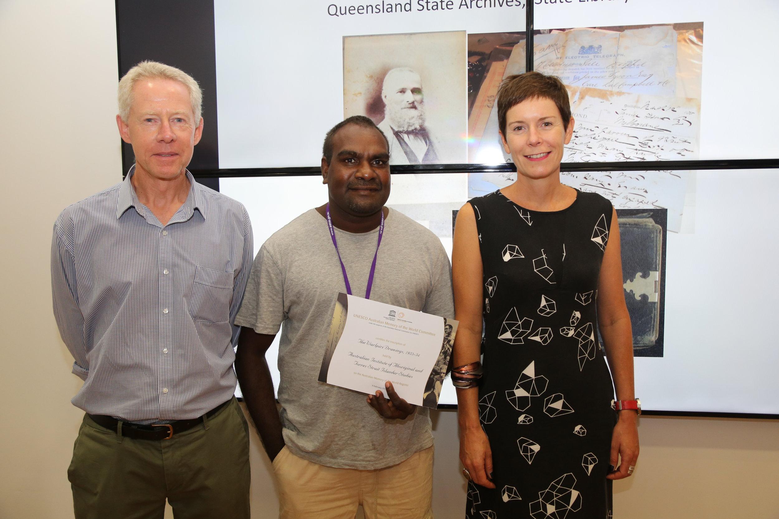 (L-R) David Jeffery, Gerald Japanangka Watson, Melinda Hinkson: Warlpiri drawings added to the UNESCO Memory of the World Register, Canberra, February 2017.