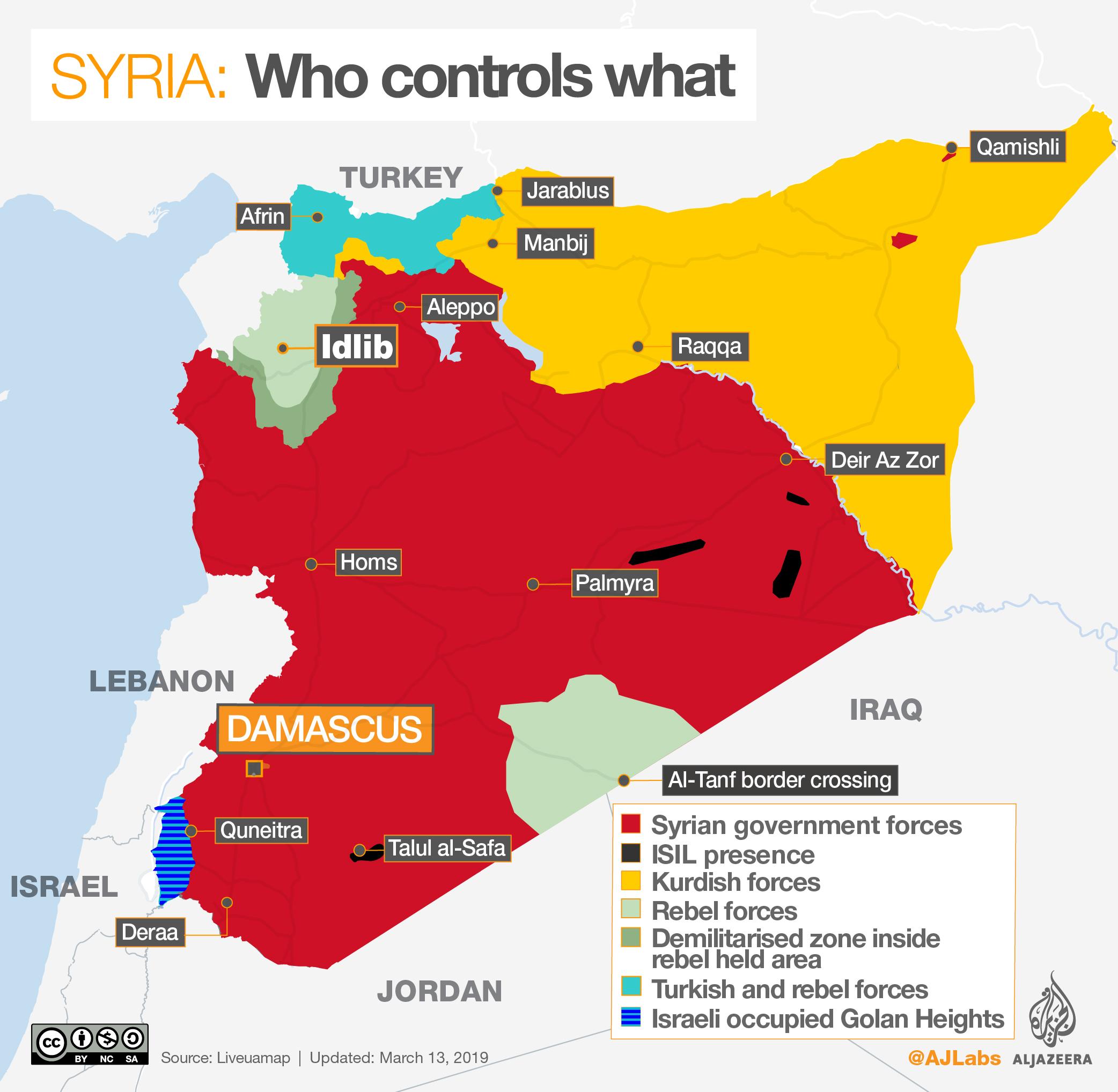 'Syria's war: Who controls what?', Al Jazeera (13 March 2019).  Source:  Al Jazeera .