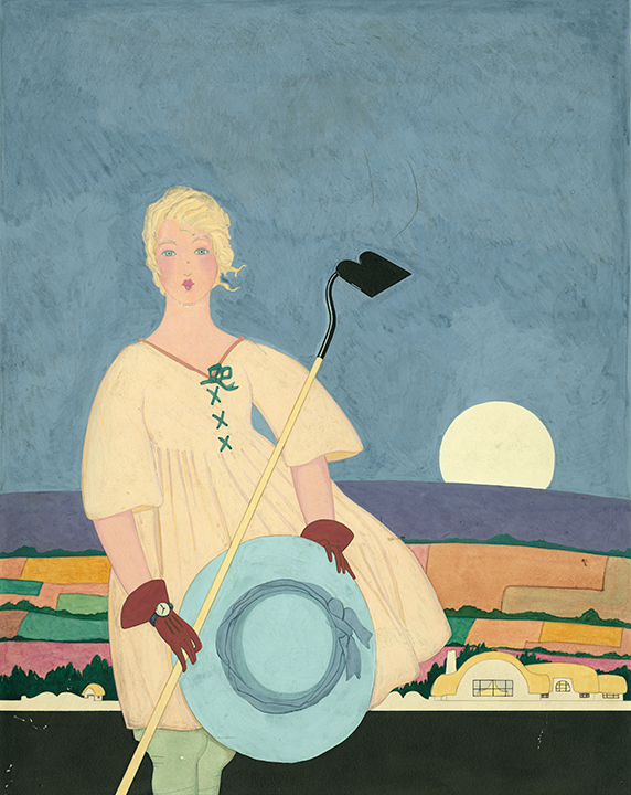 """Arthur Finley: Woman gardener pausing with hoe at moonrise. Unpublished magazine cover,  House & Garden ; publisher: (Condé Nast), ca. 1915; Gouache, 16.5 x 13"""" signed verso."""