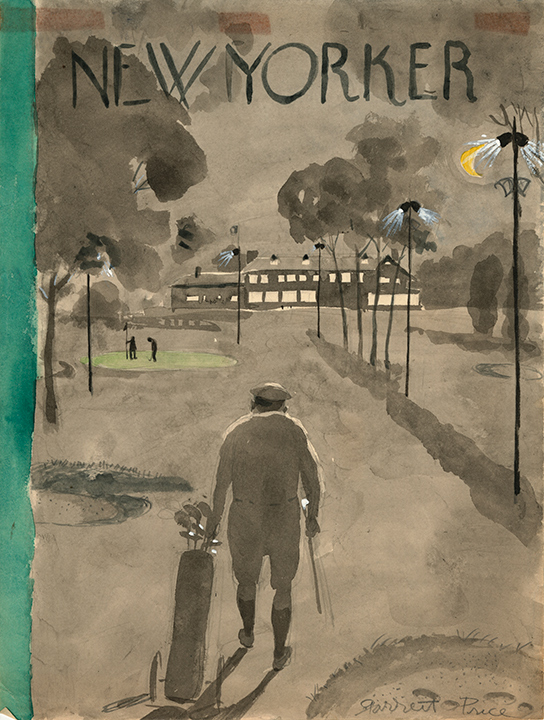 """Garrett Price: Golfer finishing game in moonlight. Sketch for unpublished magazine cover, The New Yorker, ca. 1960; Watercolor, gouache, graphite, 11.7 x 8.7"""" signed lower right."""