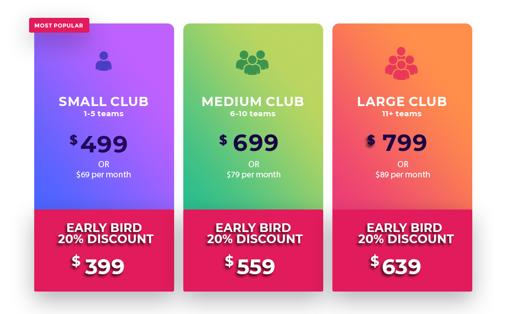 Note: All prices exclude GST. Early Bird 20% Discount is available to all clubs who purchase a KlubPro subscription prior to the 7th December 2018.