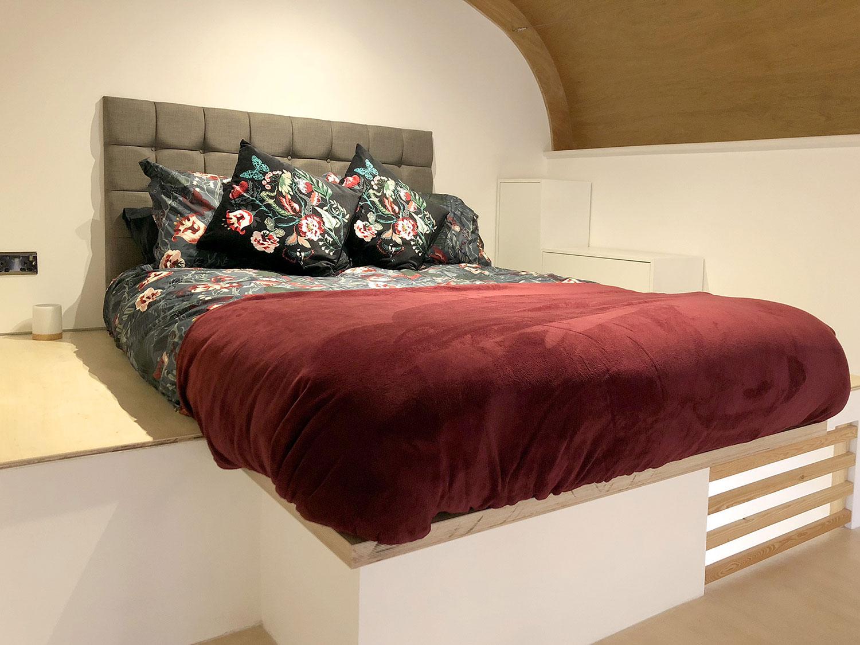 double bedroom area in our eco studio retreat accommodation in Portland Dorset
