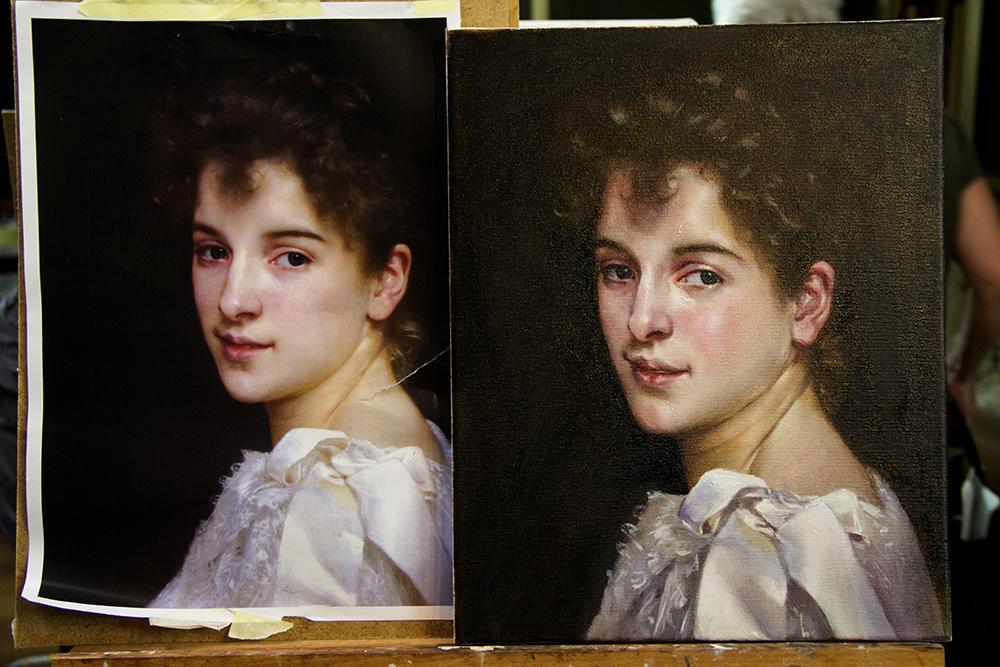 Oppilastyö Vanhat maalaustekniikat -kurssilta.