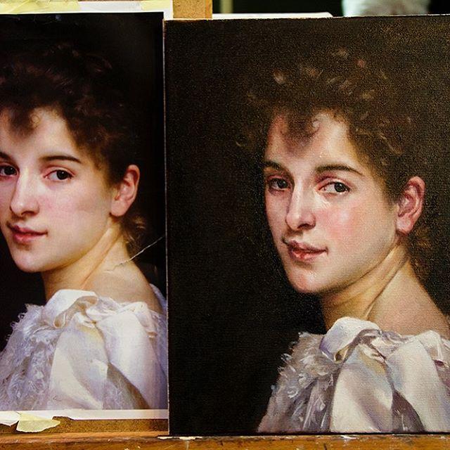 Vanhojen maalaustekniikoiden kurssilla tehdään kopio tunnetusta historiallisesta maalauksesta. Aikaisempaa maalauskokemusta ei kurssille vaadita, vaan kurssi on turvallinen paikka kokeilla uutta.  Oppilaspaikkoja on vielä jäljellä. Lue lisää profiilini linkistä. Kuvassa oppilastyö.