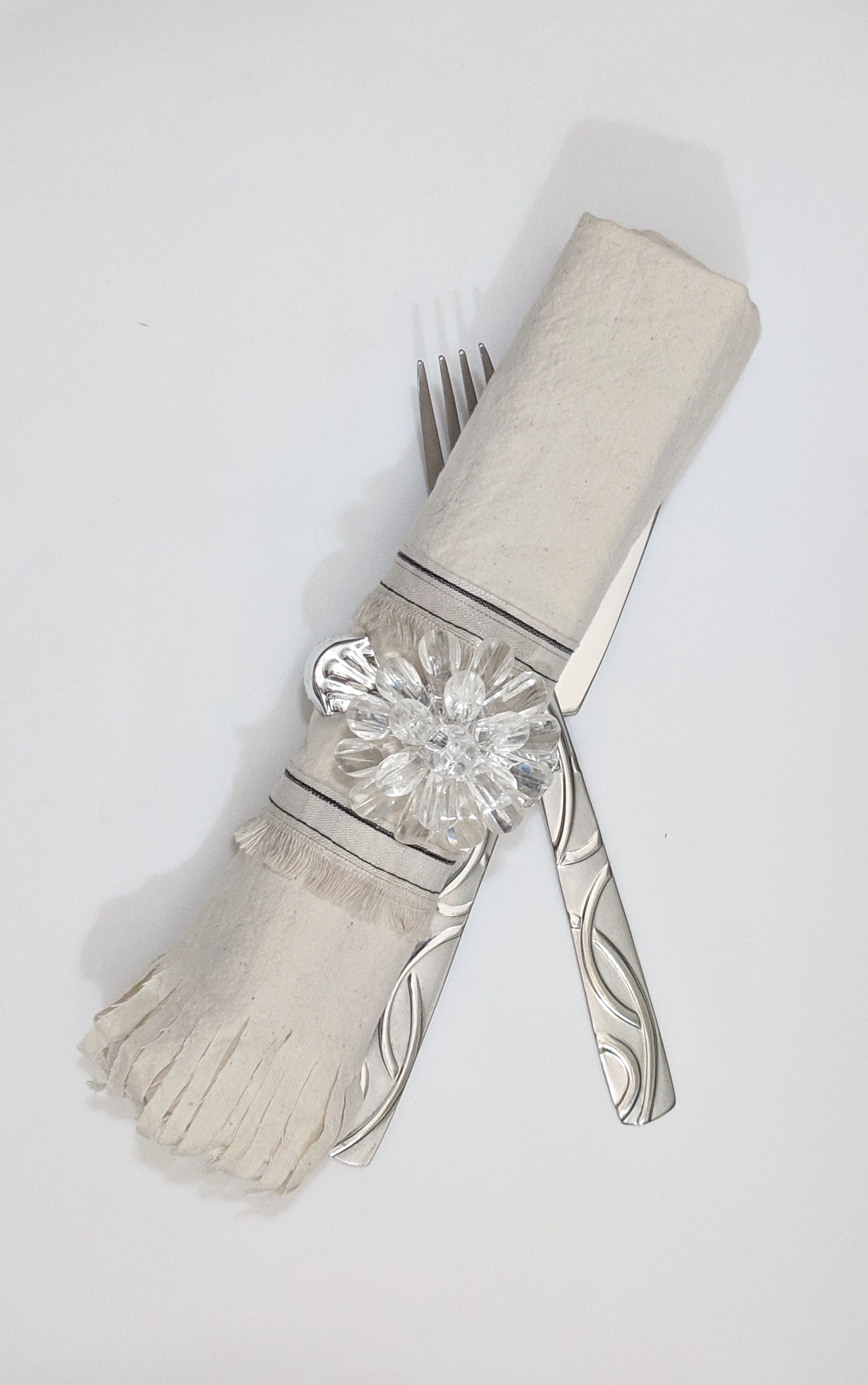"""Go For The Edge - Unbleached muslin with a 1"""" scissor fringe; decorated with a 2 rows of selvage. Held together with a dollar store curtain tieback"""