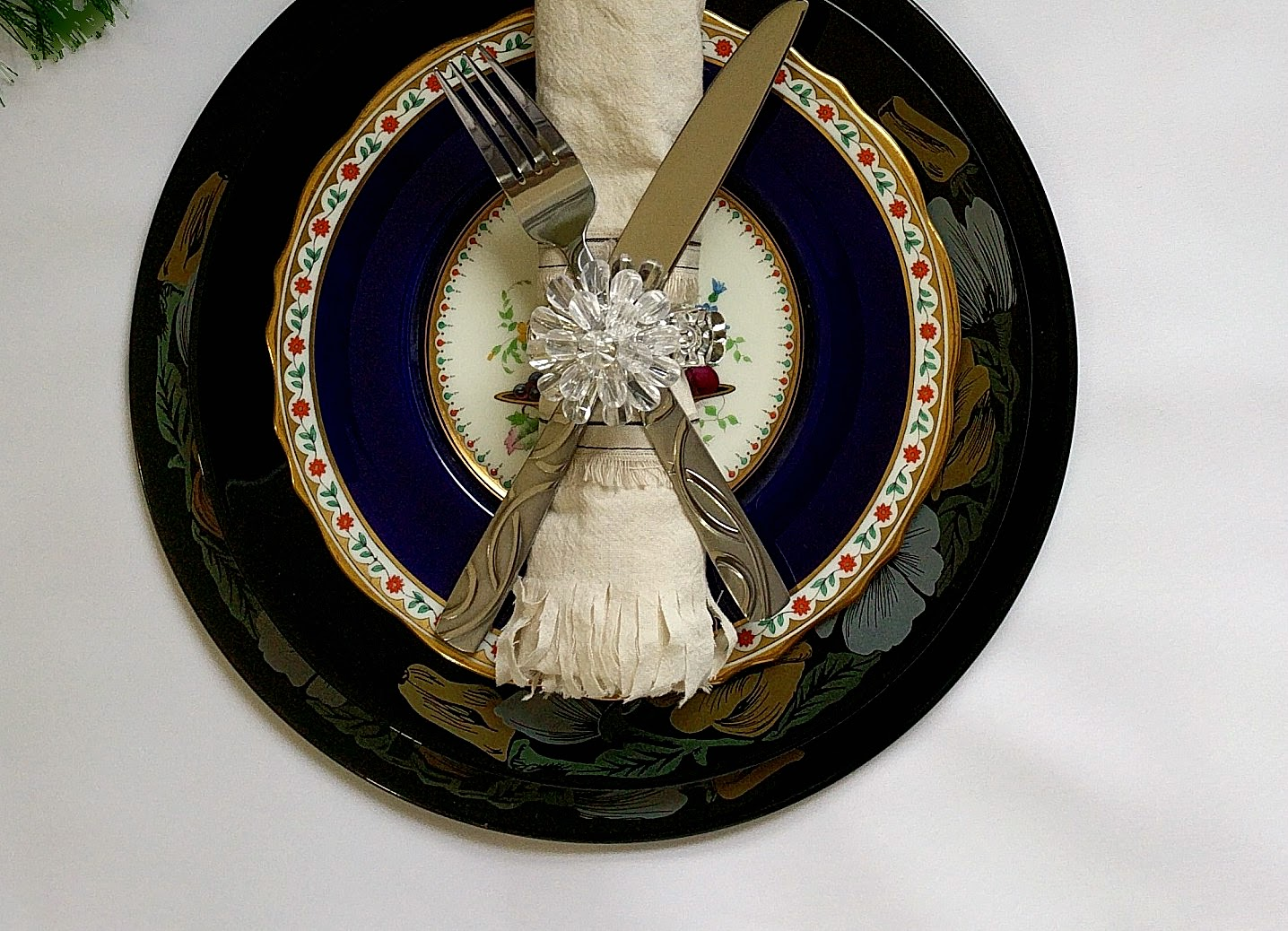 Serve Up A Little Character - Table setting idea with fringed, unbleached muslin napkin