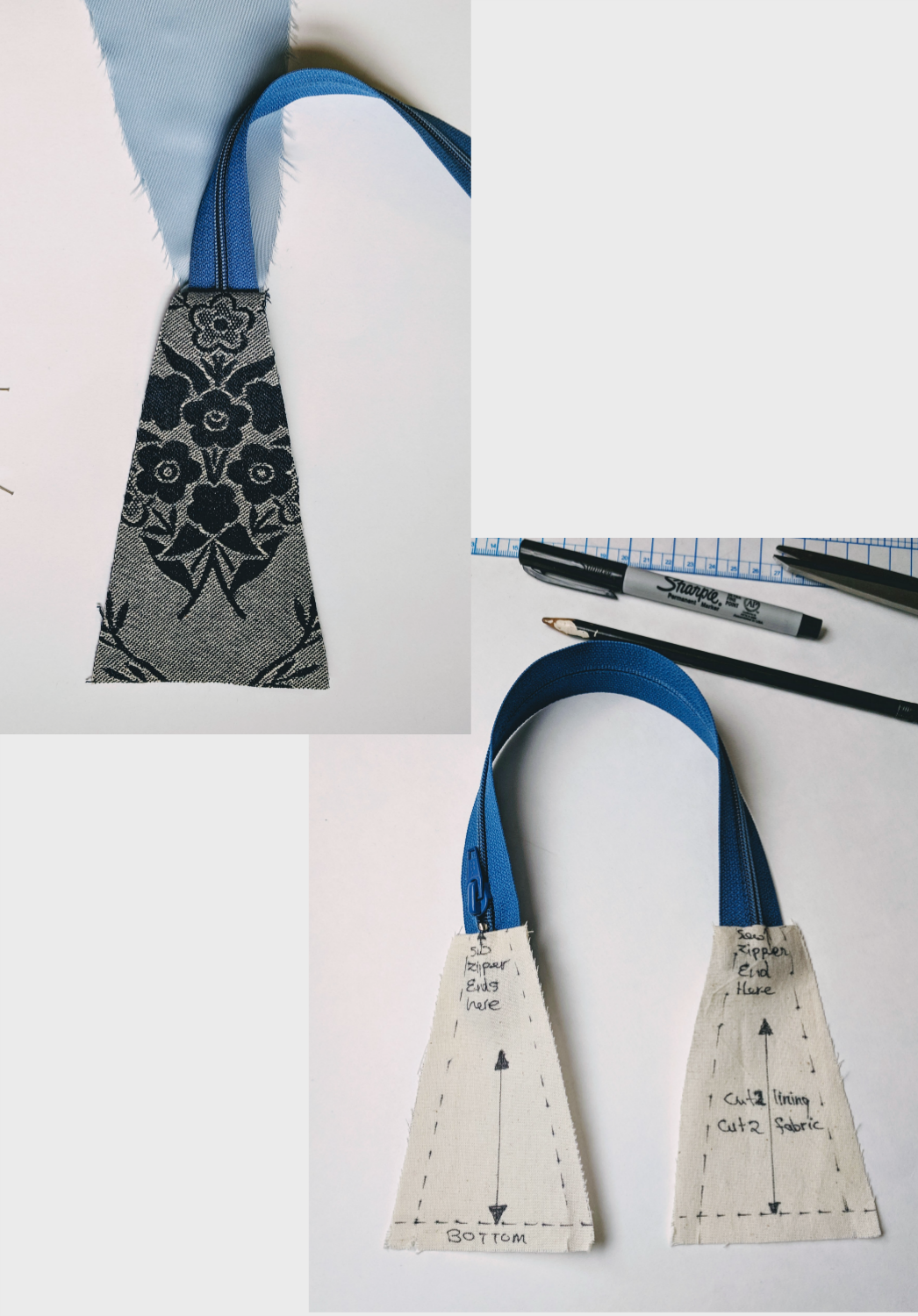 Match top edges to zipper tape - Top of side-bag panels must be equal to closed zipper width.