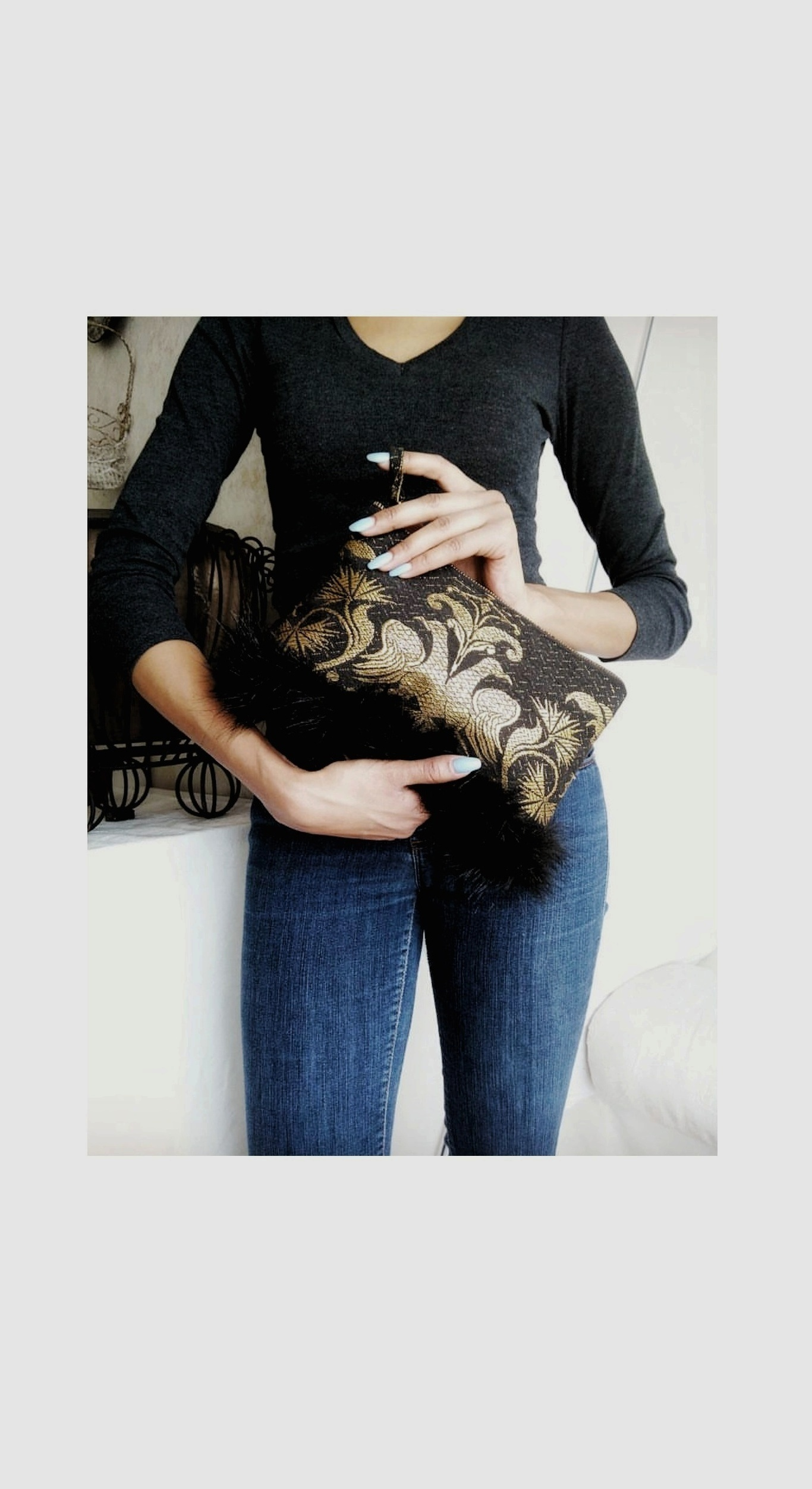 Faux Fur Trim - …zippered clutch; made with re-purposed fabric. Project completed in roughly one hour plus.