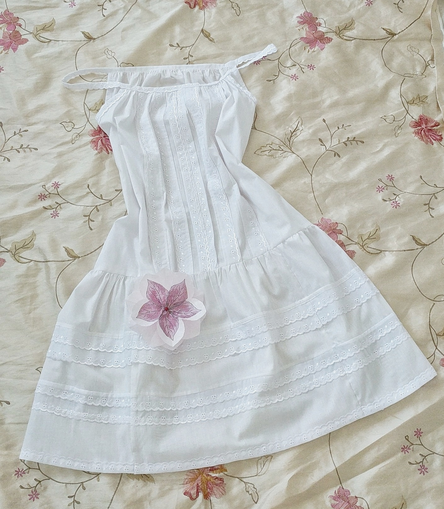 Summer Nightie - Made with the scraps from my granddaughter's bassinet skirt. Her mummy's sleeping pretty.