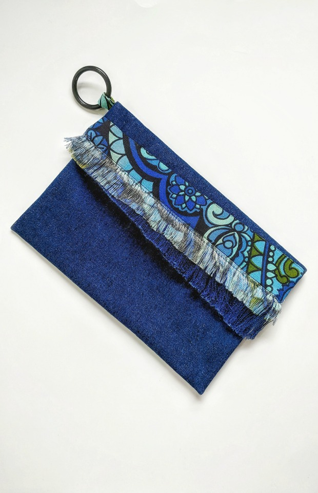 Denim Fold Over Clutch - Made with one piece of fabric scrap and trimmed with another