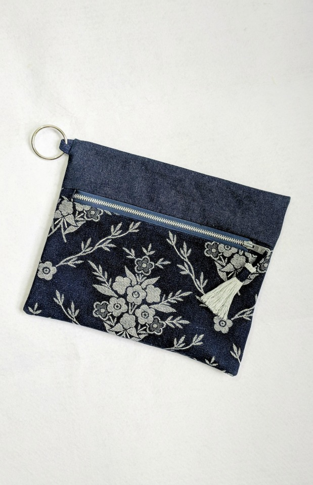 Clutch Bag With Zipper - Made with two scraps of fabric and trimmed with a fabric tassel.