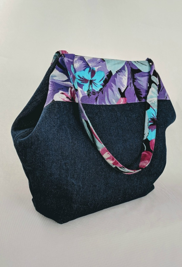 Denim DIY Tote - Take fashion wherever you go with this attractive tote: Made with denim and trim with rayon.