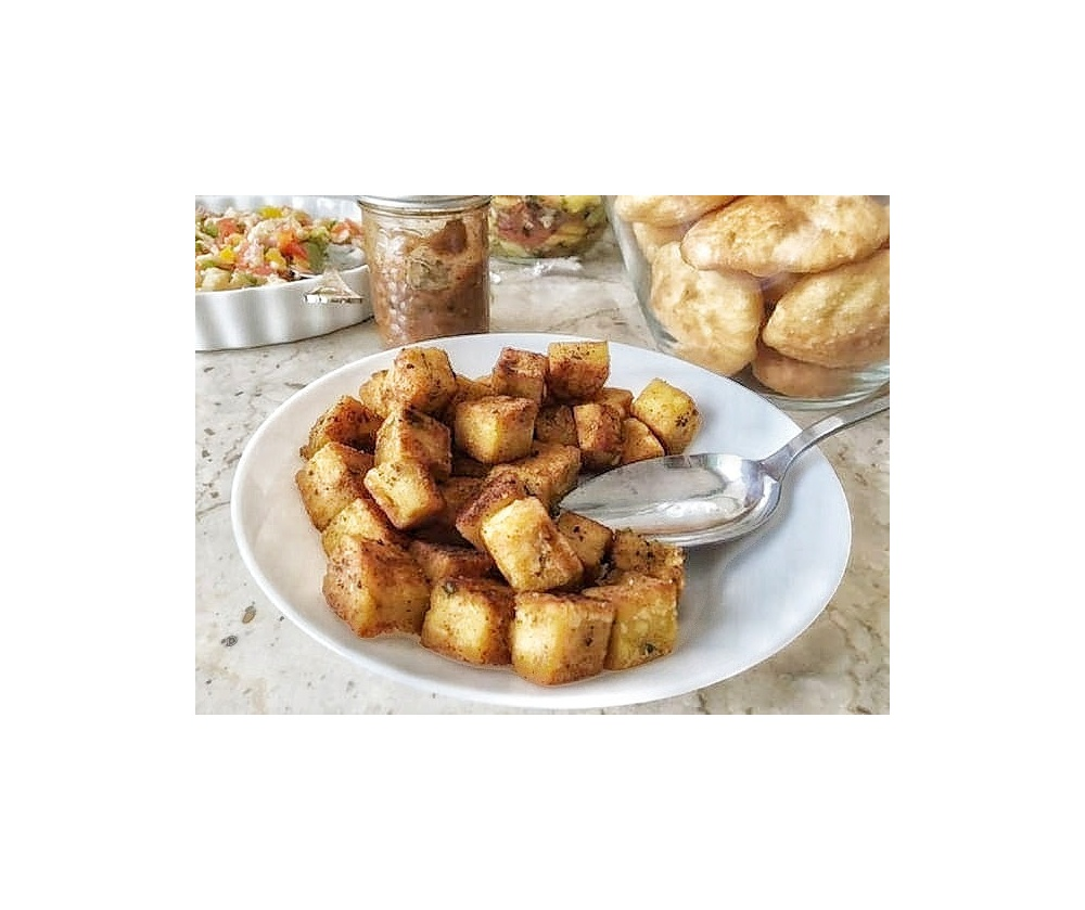 Above:  Fried chickpea flour tofu; this is an awesome dish to serve at a brunch or gathering.