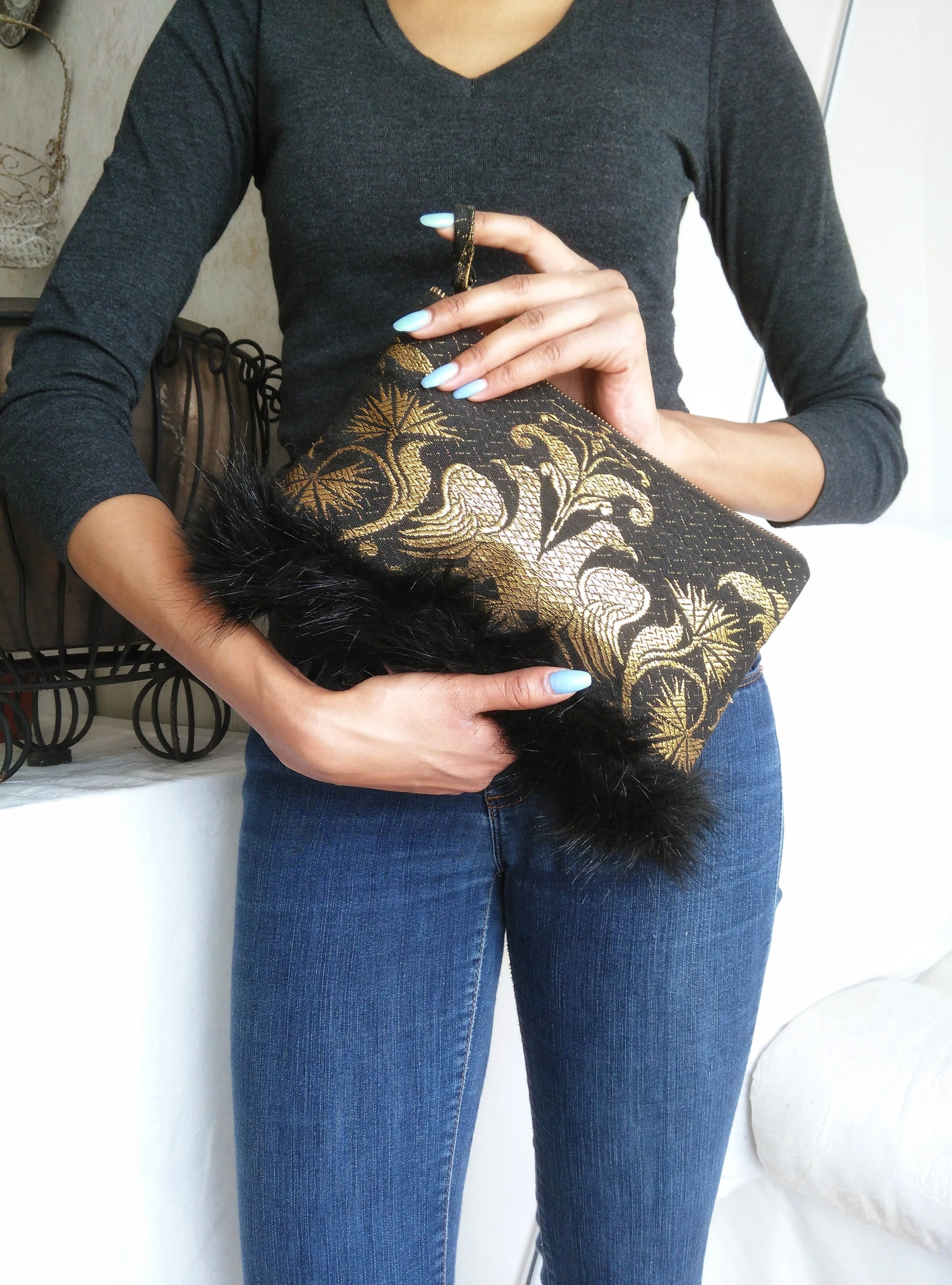 Fur Trimmed Clutch - Make your statement one-of-a-kind easy clutch
