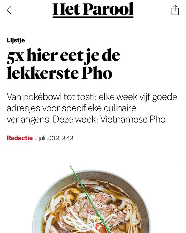 Thank you @hetparool for a lovely article introducing Vietnamese culture in Amsterdam https://www.parool.nl/ps/5x-hier-eet-je-de-lekkerste-pho~b002b7f9/?referer=https%3A%2F%2Fwww.google.com%2F  Come and visit us at Nieuwezijds Voorburgwal 306 for a true Northern Vietnamese Phở. : : : : : #phovietnam #amsterdam #hanoioldquater #amsterdamfood #amsterdamrestaurant #foodporn #authentic💯 #yumamsterdam #spicies #healthyfood #homemade  #fresh #foodboom #foodmagazine