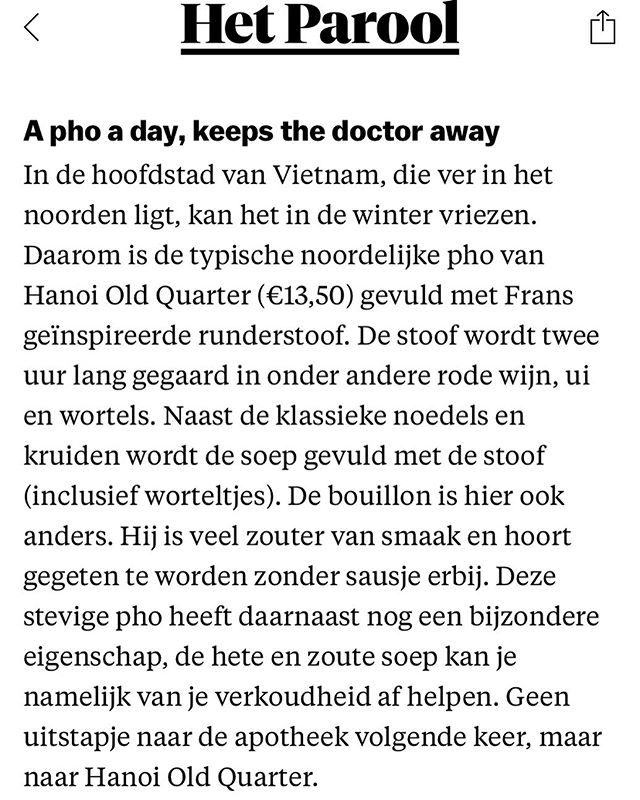 Thank you @hetparool for a lovely article introducing Vietnamese cuisines and culture in Amsterdam : : : : : #amsterdamfood #restaurantweek #hanoi_oq#restaurantamsterdam #foodbloggersofinstagram #instagramfoodies #foodporn #species #asianfoodie #asianfoodlover #amsterdamn #pho#nieuwezijdsvoorburgwal #seafoodtime #healthyfoodchoices #freshfoodz #homemadefoods