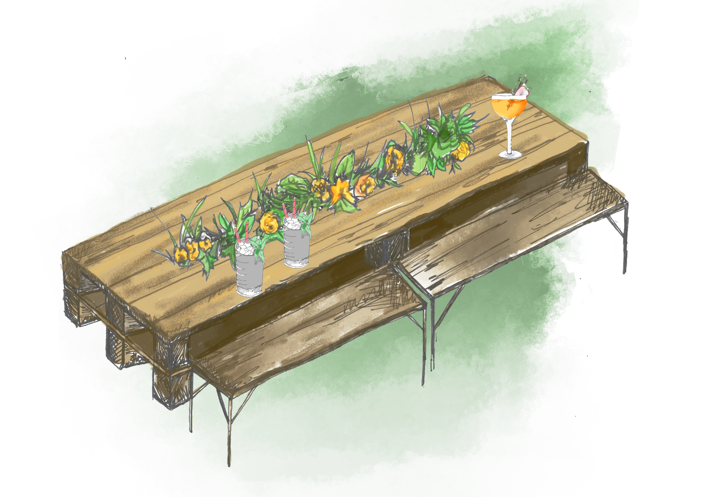 Long flower table - The Long Flower Table is embedded with greenery and foliage and can seat up to 30 people, perfect for small and medium size drinks parties.