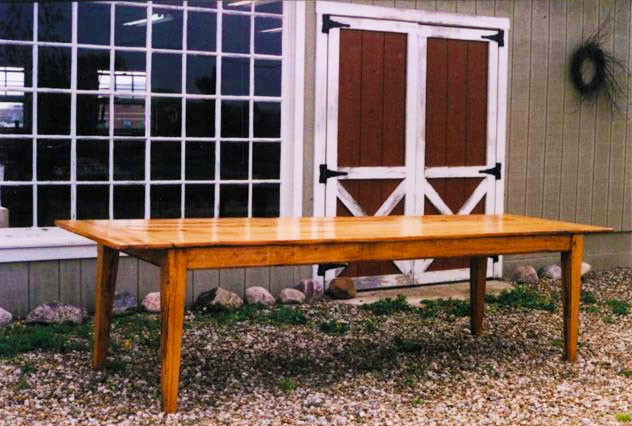 12 Foot Antique Pine Farm Table