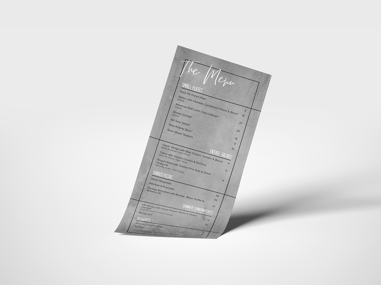 Menu design for Alibi