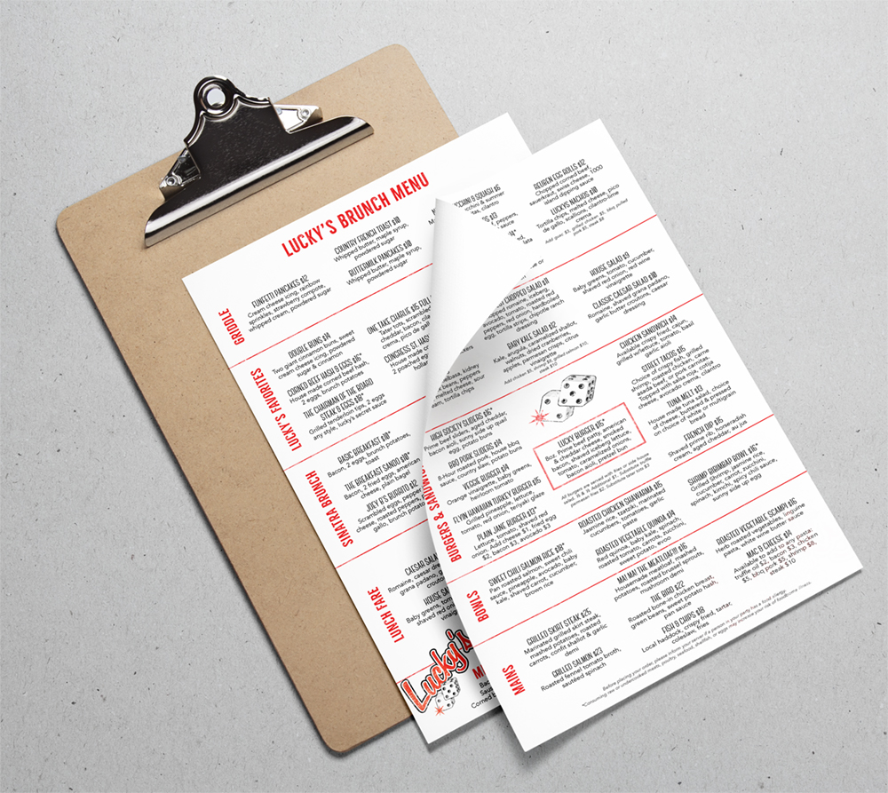 Menu design for Lucky's Lounge