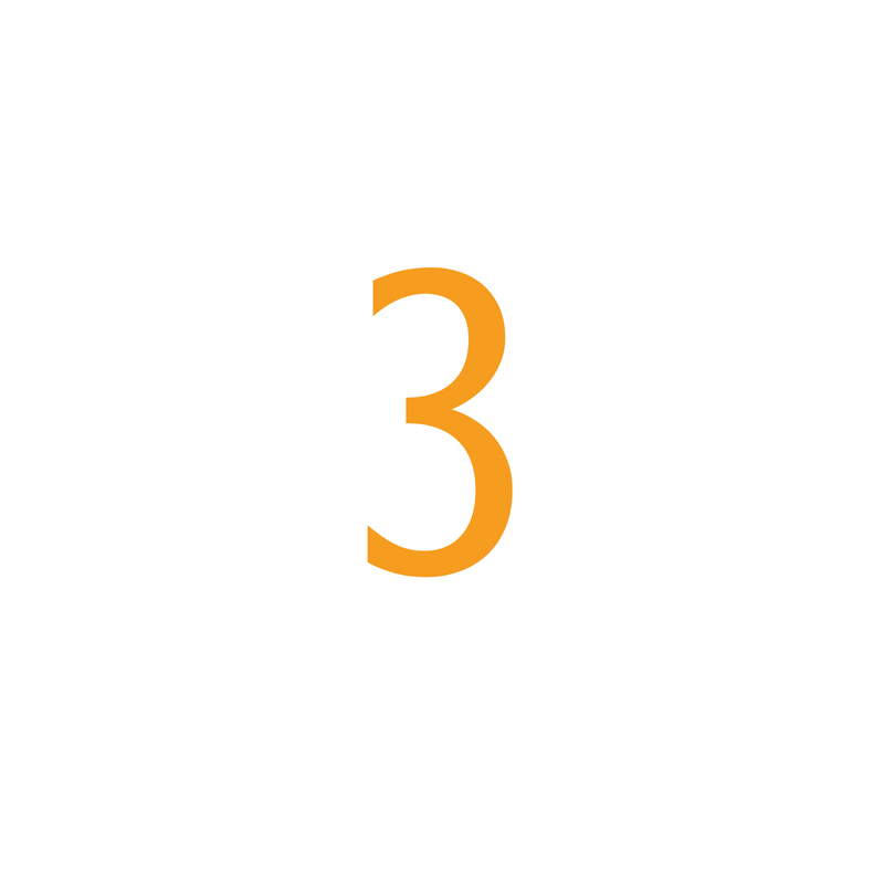 The number three, describing the third and final step in using Optimize Hire Pre-Employment Tests to hire better performing employees.