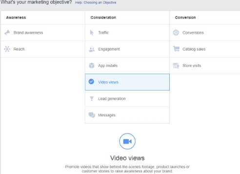 Here's where you select 'Video Views' in Ads Manager