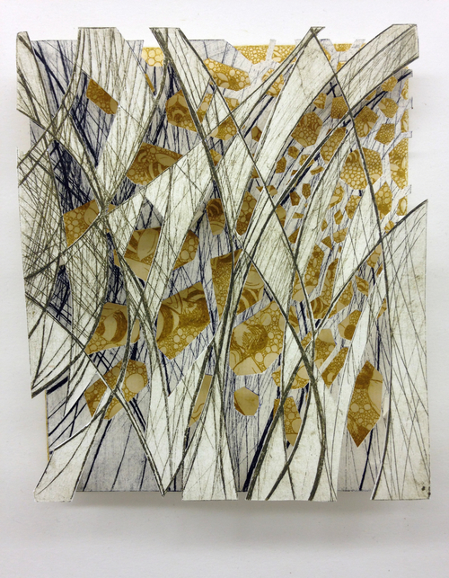 """Through the Meadow   9"""" x 12"""" x 2""""  Intaglio, hand cut paper   SOLD"""