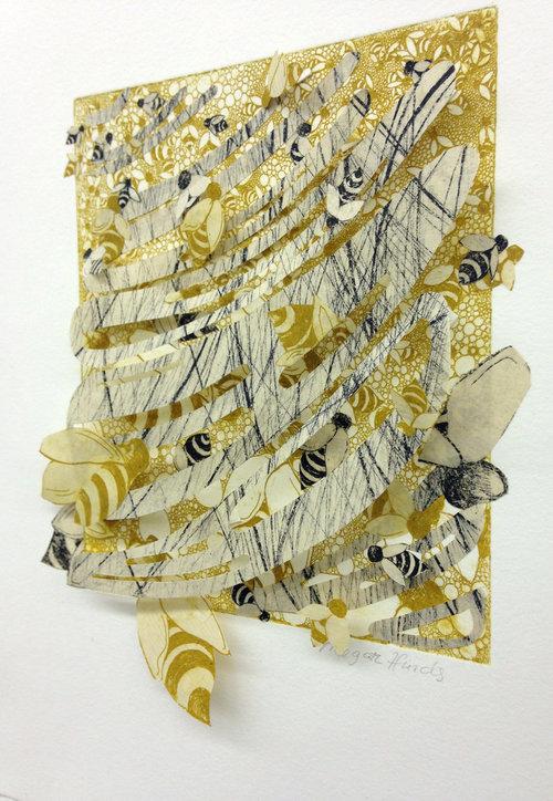 "Bee Hive   9"" x 12"" x 2""  Intaglio, hand cut paper   SOLD"