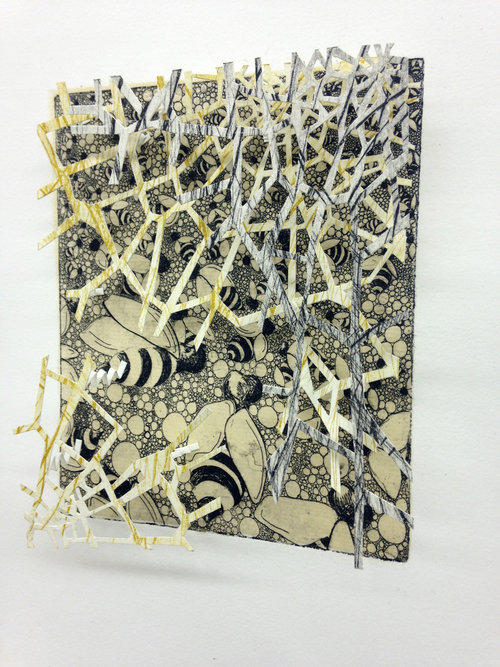 """The Nest   9"""" x 12"""" x 2""""  Intaglio, hand cut paper  Comes in Matt Black Shadow box with wire backing  $350-  Available"""