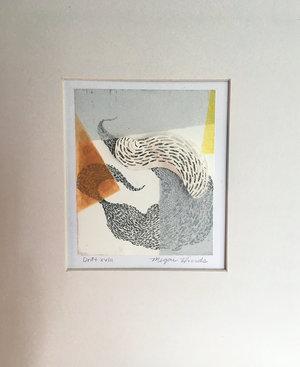 "Drift XVIII   Monotype, copper etching, hand cut paper  8"" x 10"" x 2""   SOLD"