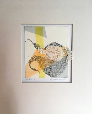 "Drift XXIII   Monotype, copper etching, hand cut paper  8"" x 10"" x 2""   SOLD"
