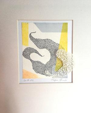 "Drift XXI   Monotype, copper etching, hand cut paper  8"" x 10"" x 2""   SOLD"