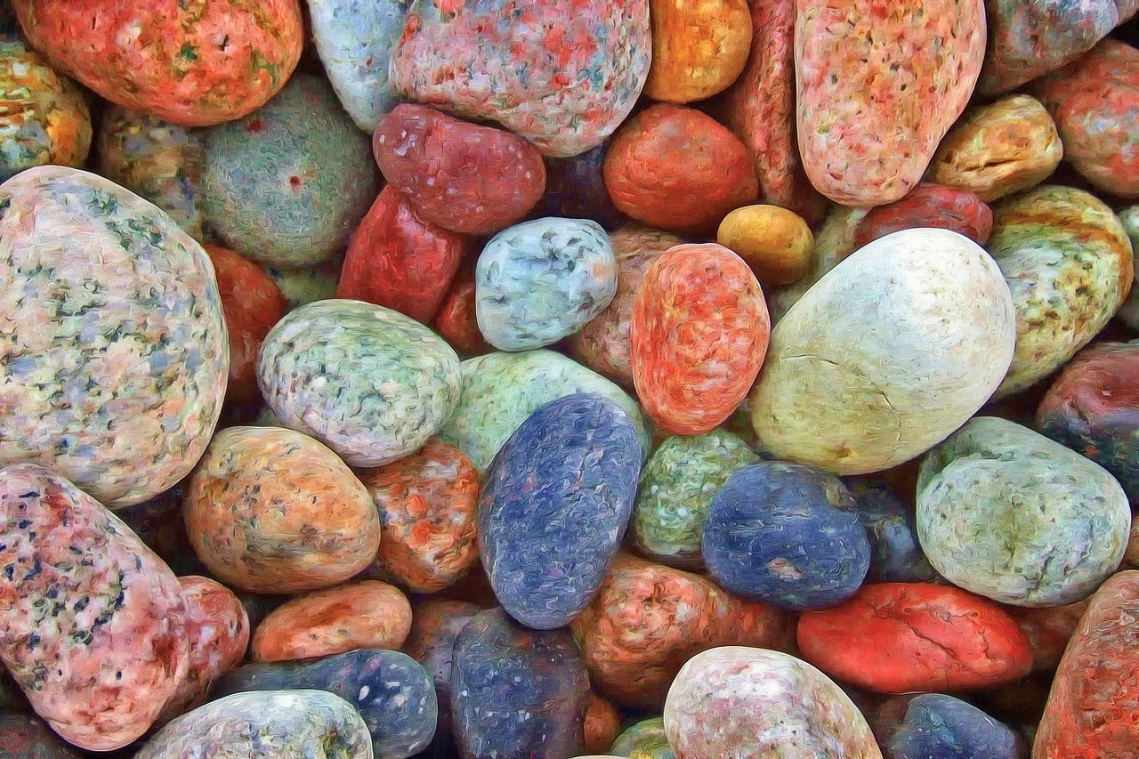pastel-coloured pebbles - Lifespark Coaching - rate the areas of your life exercise