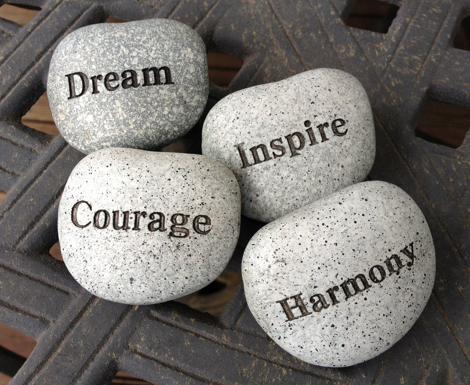 Words engraved on white speckled pebbles - what are your personal values that you live by