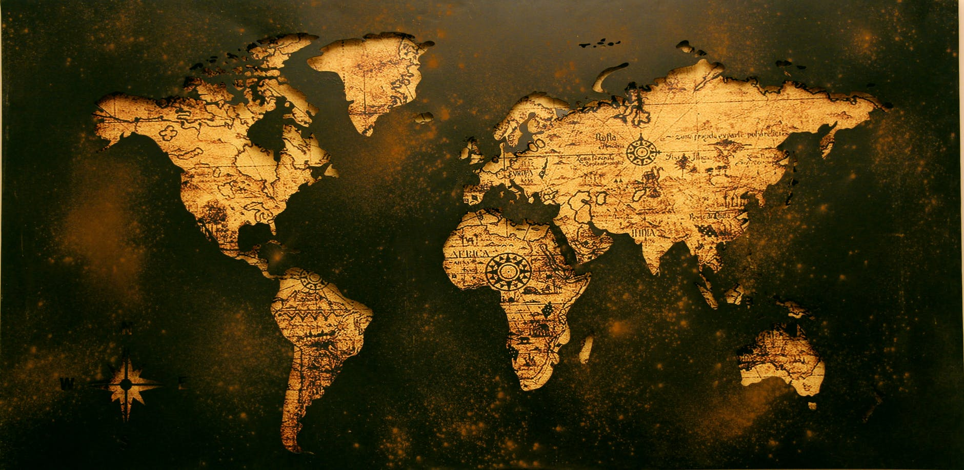 a map of the world in sepia tones - life coaching online wherever you are