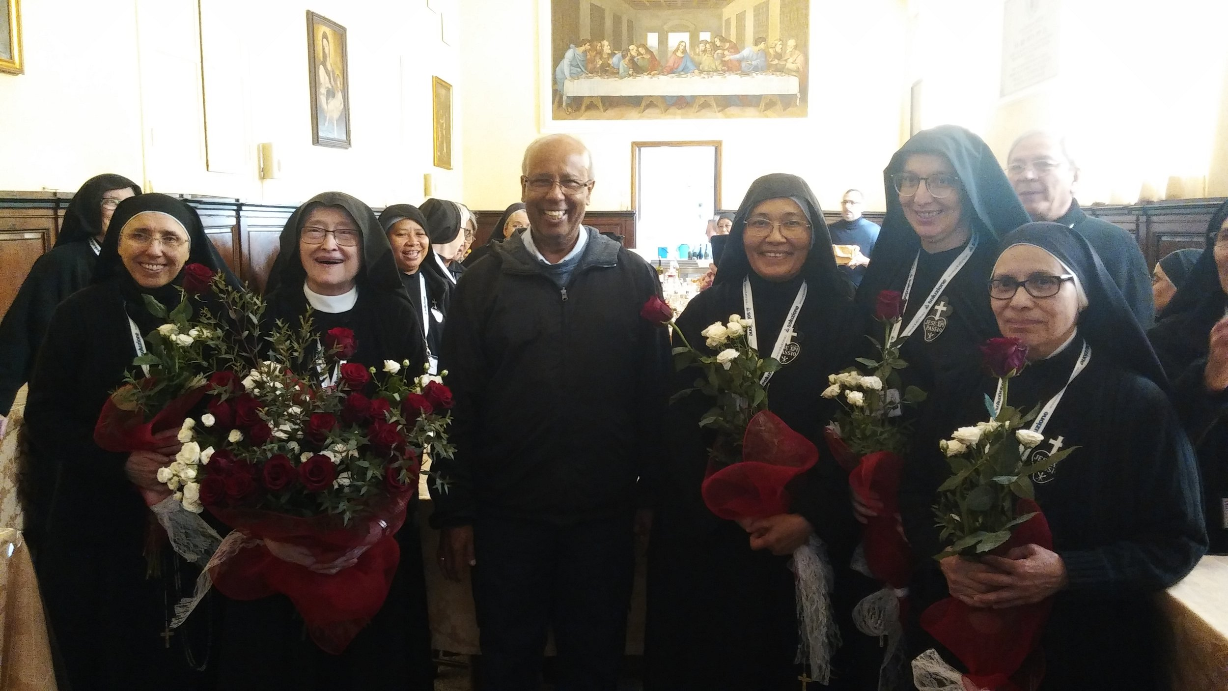 Mother Catherine Marie and her newly elected council members, with one of the Passionist Fathers