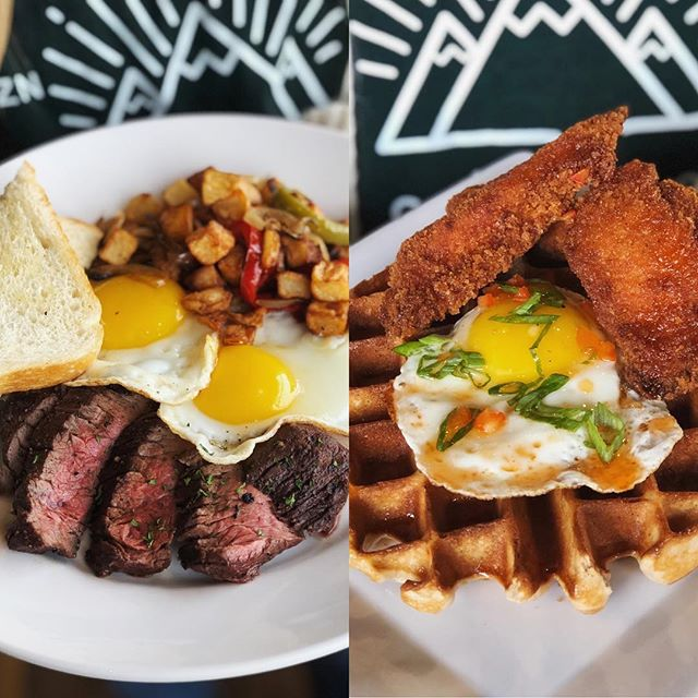 🚨Specials Alert!🚨 Steak & Eggs and Chicken & Waffles on special this morning!  #brunch #specials #bozeman #redchairmt