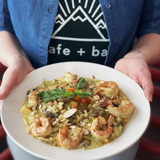 Tonight's dinner special:  Basil Pesto Cream Risotto with butternut squash, mushrooms, toasted almonds & Shrimp  #redchairmt #bozeman #dinner #special