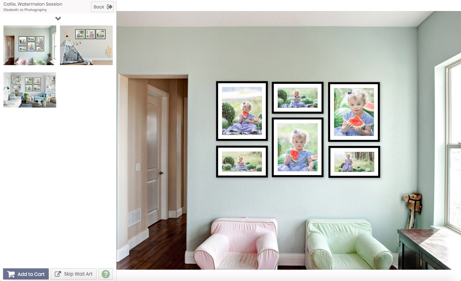 - This amazing program I walk you through during our viewing session can show you exactly what an image will look like on your wall before you even make a purchase! Everything is to scale so you know what size will look best in your space.